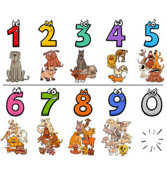 Educational cartoon numbers set with dogs animal vector