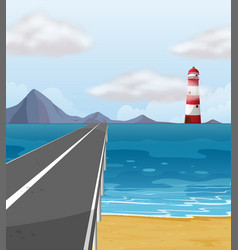 empty road through the ocean vector image