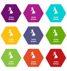 england map icons set 9 vector image