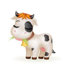 Farm little cartoon cute calf white cow standing vector