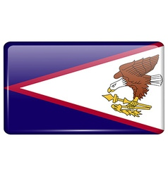 Flags American Samoa in the form of a magnet on vector image