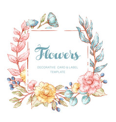 floral frame template vector image vector image