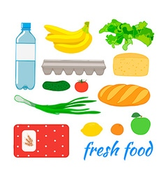 Food set with fruit and vegetables vector image