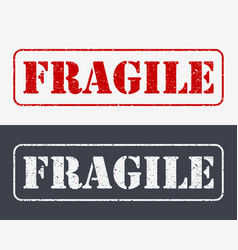 Fragile symbol for cargo with grunge design vector