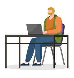 freelancer working on tasks at pc laptop vector image