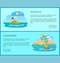 Fun water sport banner with happy people on sea vector