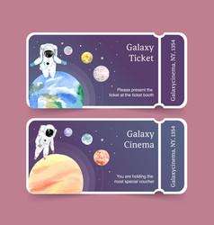 Galaxy ticket design with astronaut venus neptune vector