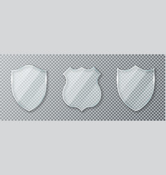 glass shield set transparent glass shields and vector image