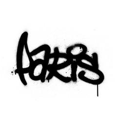 graffiti paris word sprayed in black over white vector image