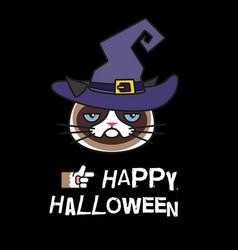 Grumpy cat in witch costume happy halloween vector