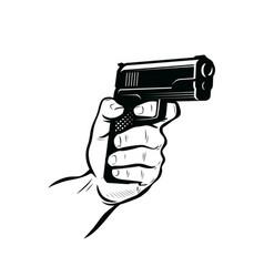 gun in hand shooter sketch vector image