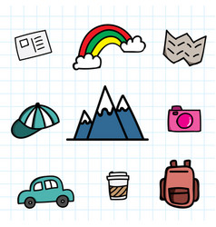 hand draw travel icon set doodle with color vector image