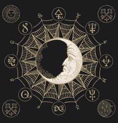 Hand-drawn banner with moon and magic symbols vector