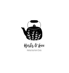 Hand drawn tea logo in doodle style vector