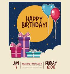 happy birthday invitation card vector image