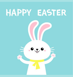 Happy easter rabbit bunny holding paw print hands vector