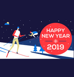 Happy new year 2019 - flat design style vector