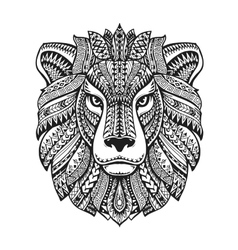Head lion Ethnic patterns Hand drawn vector