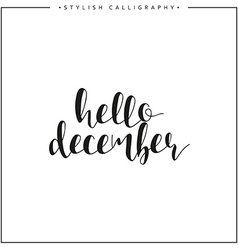 Hello december Time of year Phrase in english vector image