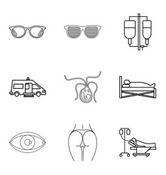Humanitarian icons set outline style vector