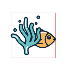Isolated fish with alga fill style icon vector