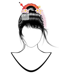 Japanese girl hairstyle vector