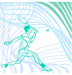 Light wave abstract badminton player vector