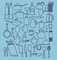 Linear flat design of collection kitchenware vector
