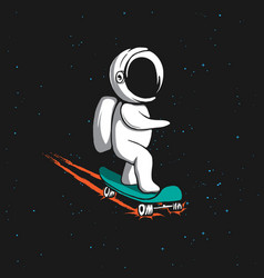 Little astronaut rides on skateboard vector