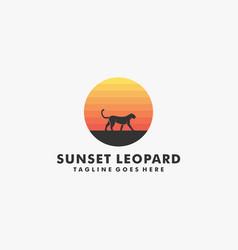 Logo leopard walking silhouette style vector
