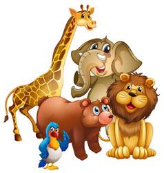 Many wild animals in zoo vector