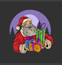 Marry christmas santa claus gift vector