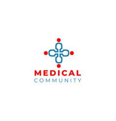 medical community logo design vector image