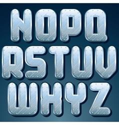 metallic font set shiny silver letters vector image