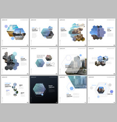 minimal brochure templates with colorful hexagons vector image