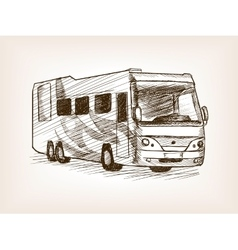 Mobile home bus transport sketch vector