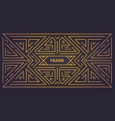 monogram geometric art deco frame golden vector image
