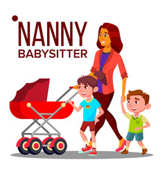 Nanny woman babysitter with children vector