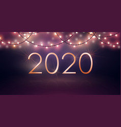 new year design with glowing light bulb garlands vector image