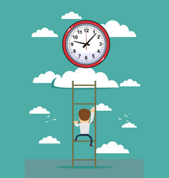 oncept of clock time symbol icon on cloud with vector image