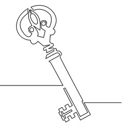 one line drawing of isolated object old key vector image