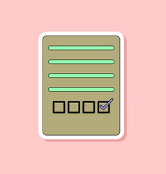 paper sticker on stylish background checklist vector image