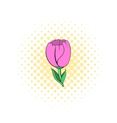 Pink tulip icon in comics style vector image