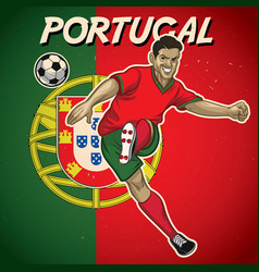 portugal soccer player with flag background vector image