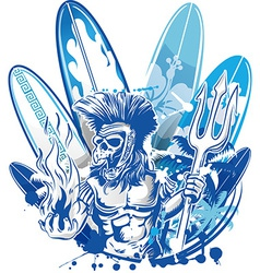 poseidon death surfer on surfboard background vector image
