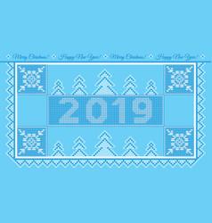 postcard ny2019 blue vector image