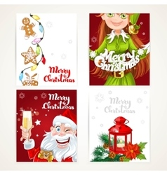 Santa Claus and Elf with gift on red and white vector image