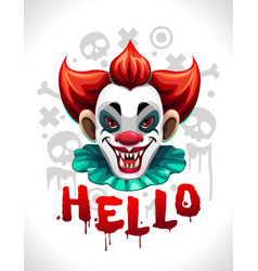scary bad clown face cool creepy vector image