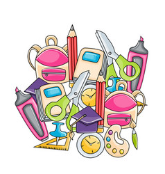 school elements clip art set in cartoon style vector image
