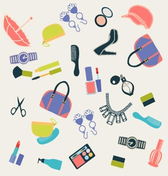 seamless pattern with woman things vector image